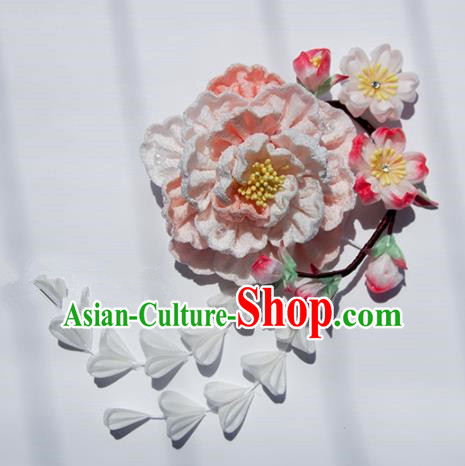 Japanese Geisha Kimono Pink Peony Tassel Hair Claw Hairpins Traditional Hair Accessories for Women