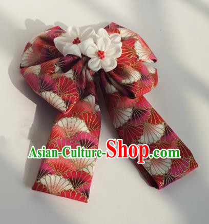 Japanese Geisha Kimono Red Bowknot Hair Claw Hairpins Traditional Hair Accessories for Women