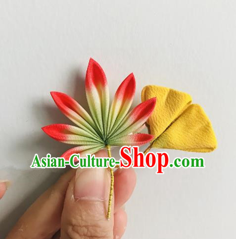 Japanese Geisha Kimono Ginkgo Leaf Hair Claw Hairpins Traditional Yamato Hair Accessories for Women