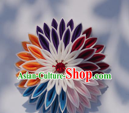 Japanese Geisha Kimono Colorful Chrysanthemum Hair Claw Hairpins Traditional Yamato Hair Accessories for Women