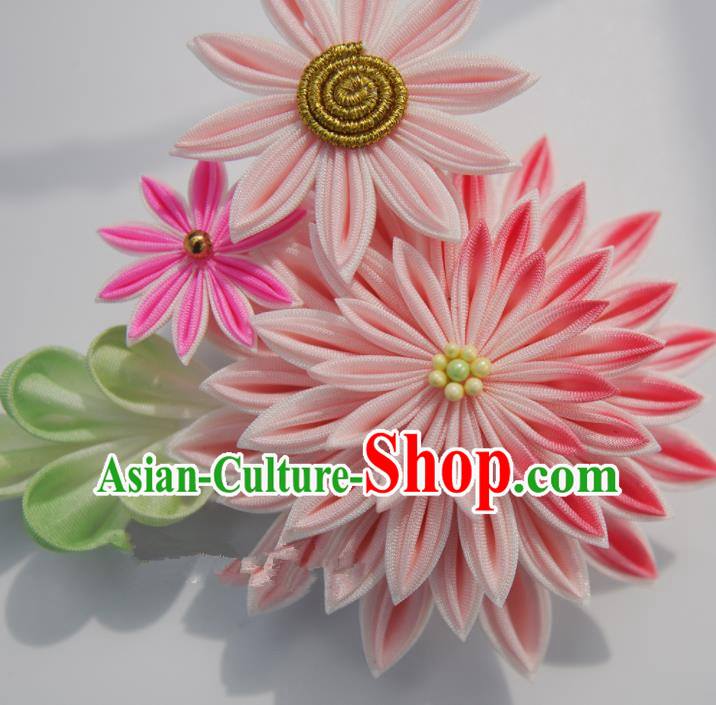 Japanese Geisha Kimono Pink Chrysanthemum Hair Claw Hairpins Traditional Yamato Hair Accessories for Women