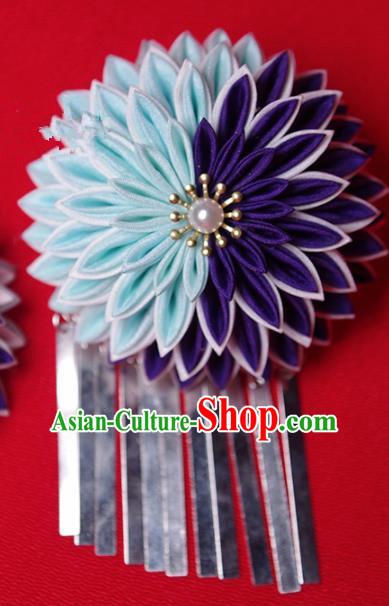 Japanese Geisha Kimono Purple and Blue Chrysanthemum Hair Claw Hairpins Traditional Yamato Hair Accessories for Women