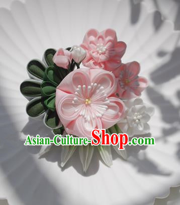 Japanese Geisha Kimono Pink Plum Hair Claw Hairpins Traditional Yamato Hair Accessories for Women