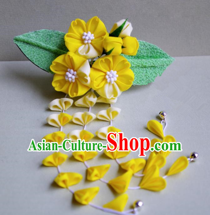 Japanese Geisha Kimono Yellow Cherry Blossom Tassel Hair Claw Hairpins Traditional Yamato Hair Accessories for Women