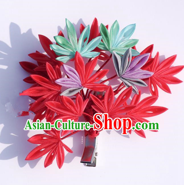 Japanese Geisha Kimono Red Maple Leaf Hair Claw Hairpins Traditional Yamato Hair Accessories for Women