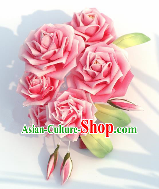 Japanese Geisha Kimono Pink Roses Hair Claw Hairpins Traditional Yamato Hair Accessories for Women