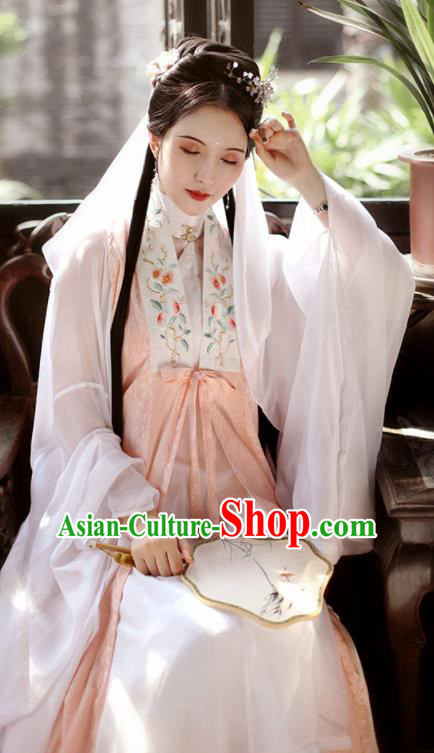 Traditional Chinese Ming Dynasty Taoist Nun Historical Costume Ancient Drama Princess Pink Hanfu Dress for Women