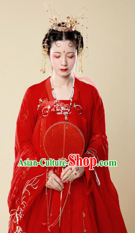 Traditional Chinese Tang Dynasty Bride Wedding Historical Costume Ancient Drama Princess Red Hanfu Dress for Women