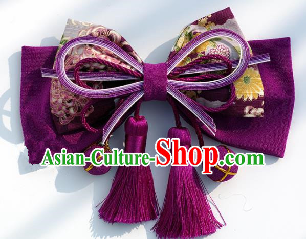 Japanese Geisha Kimono Purple Bowknot Hair Claw Hairpins Traditional Yamato Hair Accessories for Women