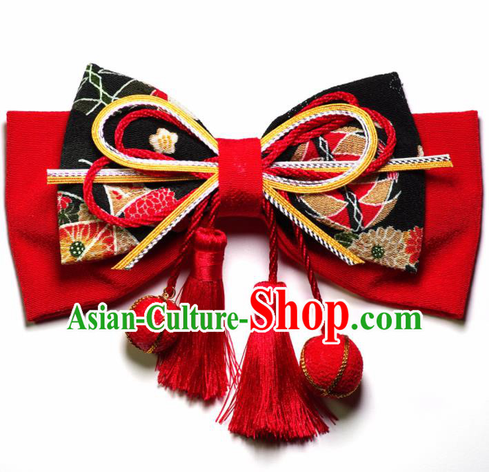Japanese Geisha Kimono Red Bowknot Hair Claw Hairpins Traditional Yamato Hair Accessories for Women