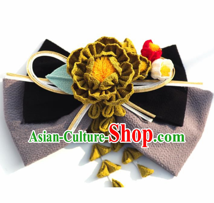 Japanese Geisha Kimono Camellia Bowknot Hair Claw Hairpins Traditional Yamato Hair Accessories for Women