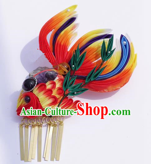 Japanese Geisha Kimono Red Goldfish Hair Claw Hairpins Traditional Yamato Hair Accessories for Women
