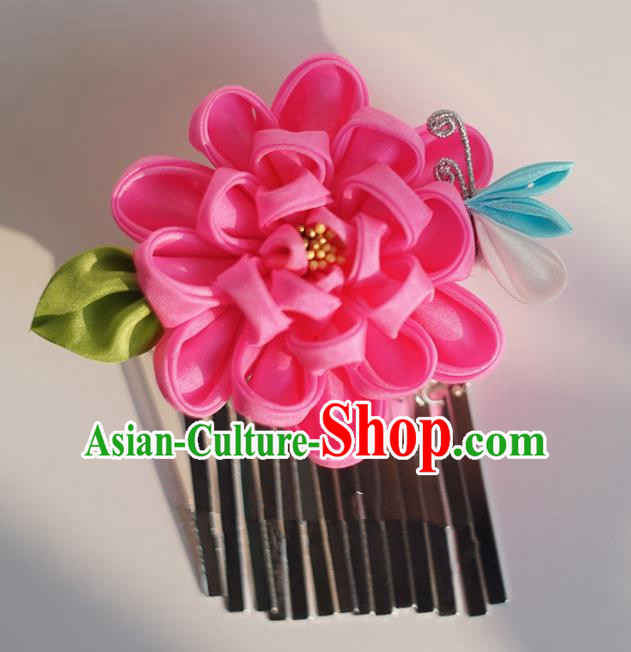 Japanese Geisha Kimono Rosy Peony Hair Claw Hairpins Traditional Yamato Hair Accessories for Women