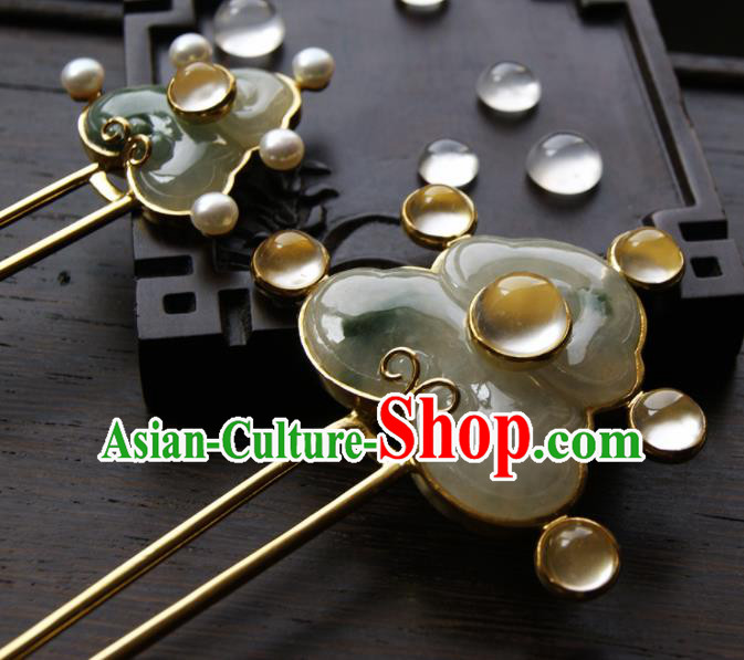 Chinese Ancient Ming Dynasty Queen Jade Hairpins Hair Clip Traditional Hanfu Hair Accessories for Women