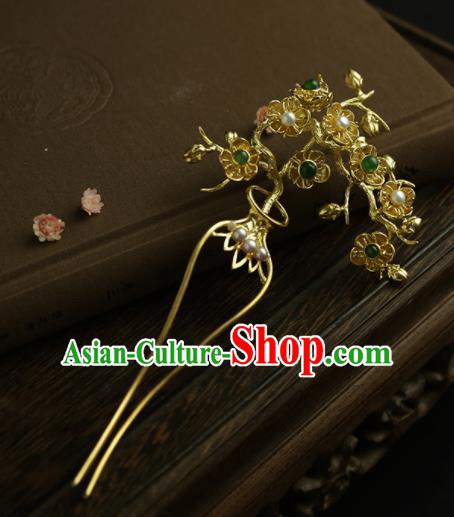 Chinese Ancient Queen Golden Plum Hairpins Traditional Hanfu Hair Clip Hair Accessories for Women