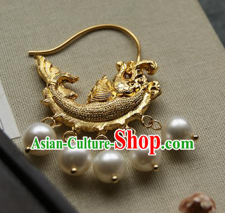 Chinese Ancient Court Golden Carp Earrings Traditional Princess Hanfu Jewelry Accessories for Women