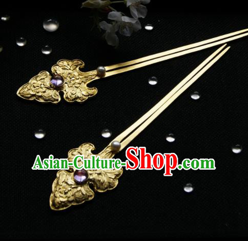 Chinese Ancient Ming Dynasty Hairpins Golden Peony Hair Clip Traditional Hanfu Hair Accessories for Women