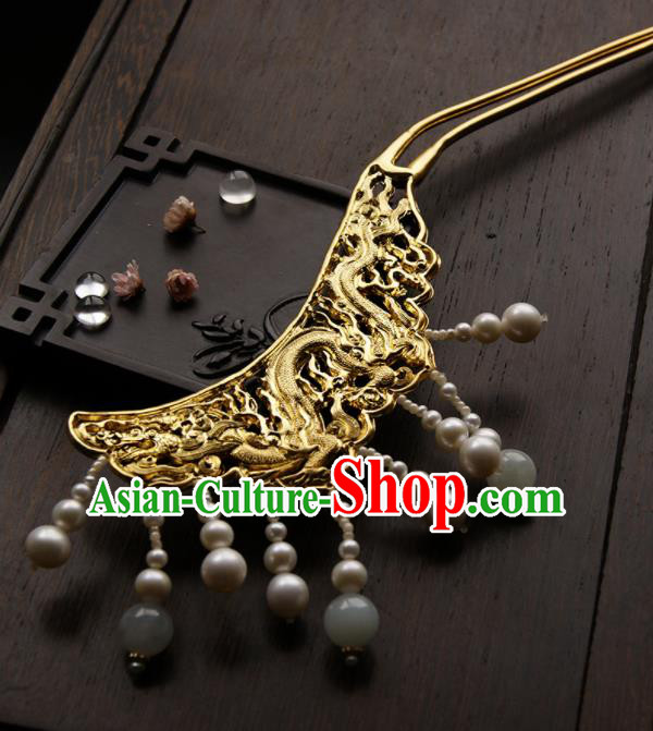 Chinese Ancient Queen Golden Dragon Tassel Hairpins Traditional Hanfu Hair Clip Hair Accessories for Women