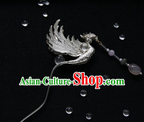 Chinese Ancient Ming Dynasty Phoenix Tassel Hairpins Hair Clip Traditional Hanfu Hair Accessories for Women