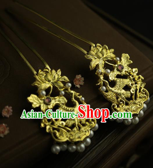Chinese Ancient Queen Golden Lotus Crane Hairpins Traditional Hanfu Hair Clip Hair Accessories for Women