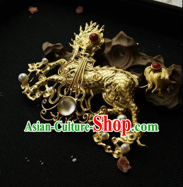 Chinese Ancient Ming Dynasty Golden Kylin Hairpins Hair Clip Traditional Hanfu Hair Accessories for Women