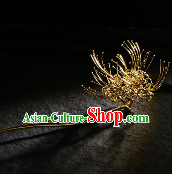 Chinese Ancient Ming Dynasty Golden Manjusaka Hairpins Hair Clip Traditional Hanfu Hair Accessories for Women