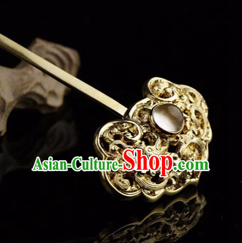 Chinese Ancient Ming Dynasty Golden Hairpins Court Hair Clip Traditional Hanfu Hair Accessories for Women
