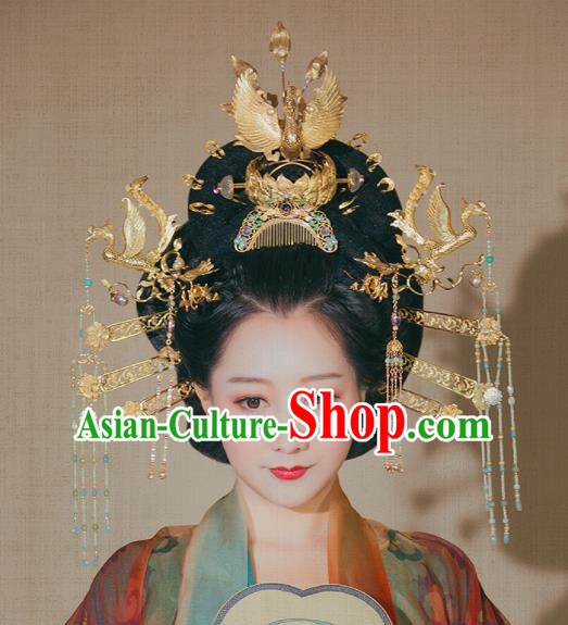 Chinese Ancient Tang Dynasty Queen Phoenix Coronet Court Hairpins Traditional Hanfu Hair Accessories for Women