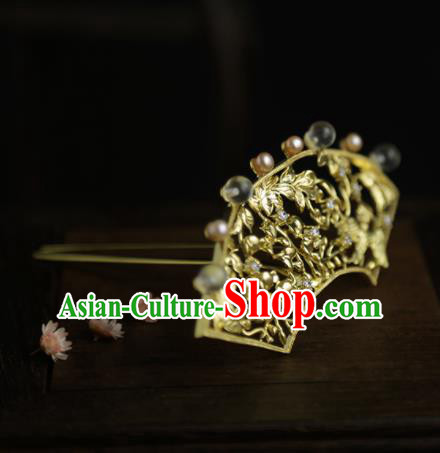 Chinese Ancient Queen Golden Hair Crown Hairpins Traditional Hanfu Hair Clip Hair Accessories for Women