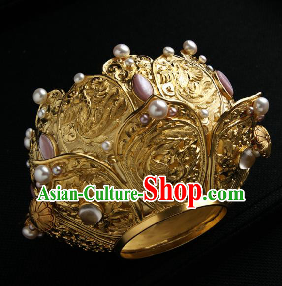 Chinese Ancient Queen Golden Lotus Hairdo Crown Hairpins Traditional Hanfu Hair Clip Hair Accessories for Women