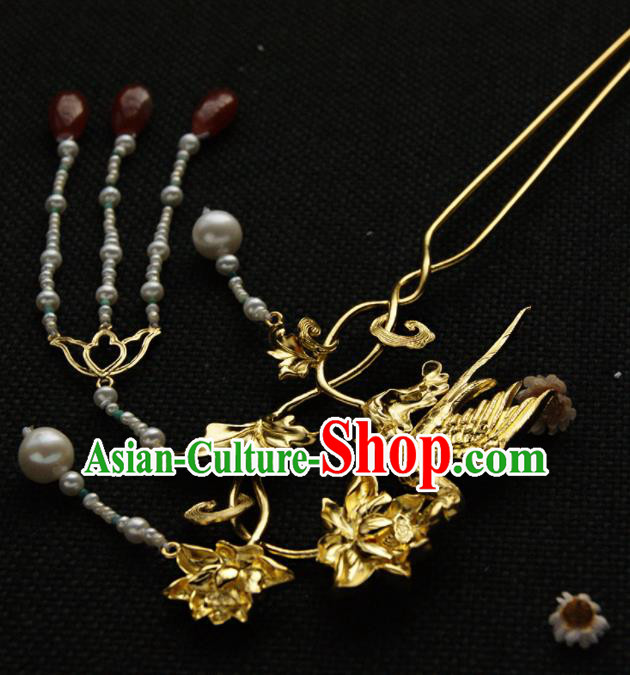 Chinese Ancient Tang Dynasty Queen Golden Parrot Lotus Hairpins Tassel Step Shake Traditional Hanfu Hair Accessories for Women