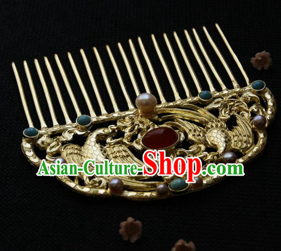 Chinese Ancient Tang Dynasty Queen Golden Parrot Agate Hair Comb Hairpins Traditional Hanfu Hair Accessories for Women