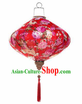 Chinese Traditional Red Silk Hanging Lantern New Year Handmade Painting Peony Palace Lanterns