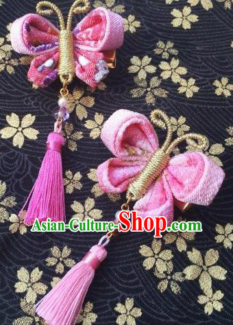 Japanese Geisha Courtesan Kimono Pink Butterfly Tassel Hair Claw Hairpins Traditional Yamato Hair Accessories for Women