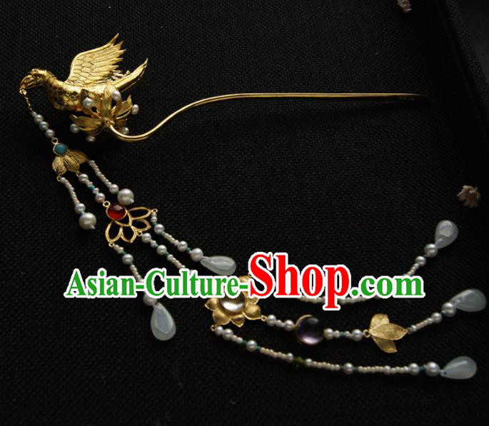 Chinese Ancient Tang Dynasty Queen Parrot Hairpins Tassel Step Shake Traditional Hanfu Hair Accessories for Women