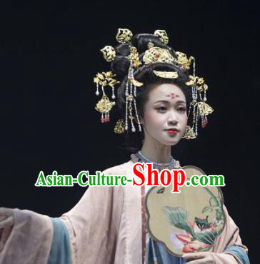 Chinese Ancient Tang Dynasty Queen Hairpins Hair Crown Traditional Hanfu Hair Accessories Complete Set for Women