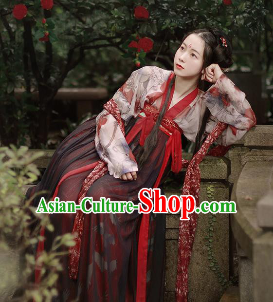 Chinese Traditional Tang Dynasty Palace Lady Replica Costumes Ancient Court Maid Hanfu Dress for Women
