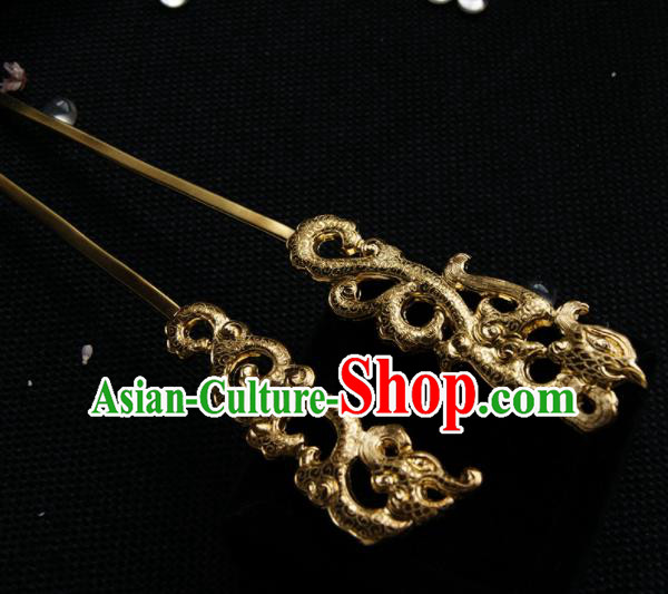 Chinese Ancient Tang Dynasty Queen Golden Phoenix Hairpins Traditional Hanfu Hair Accessories for Women