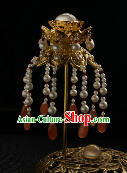 Chinese Ancient Tang Dynasty Queen Pearls Tassel Hairpins Traditional Hanfu Hair Accessories for Women