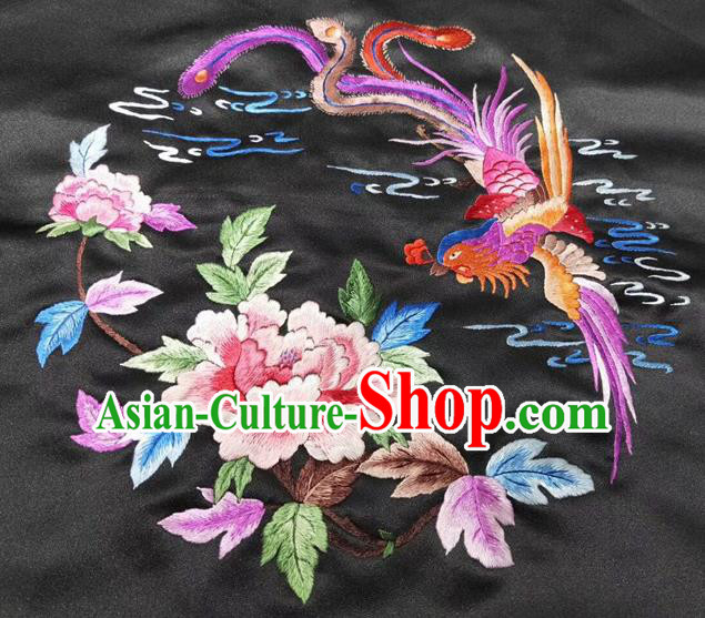 Chinese Handmade Traditional Embroidery Craft Embroidered Phoenix Peony Silk Fabric Patch