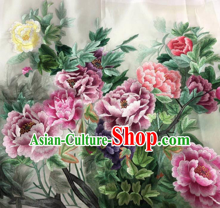 Chinese Handmade Embroidered Lilac Peony Silk Fabric Patch Traditional Embroidery Craft