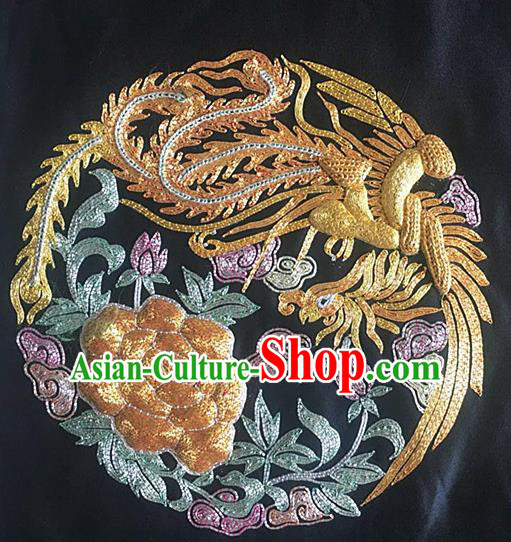 Chinese Handmade Embroidered Golden Phoenix Peony Silk Fabric Patch Traditional Embroidery Craft