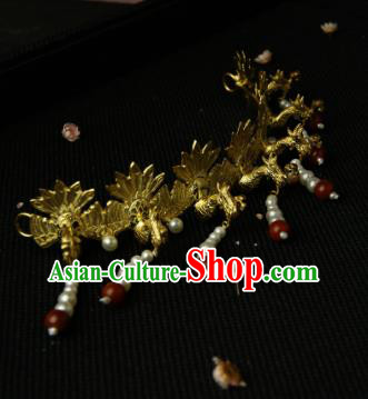 Chinese Ancient Ming Dynasty Queen Tassel Hairpins Phoenix Hair Crown Traditional Hanfu Hair Accessories for Women