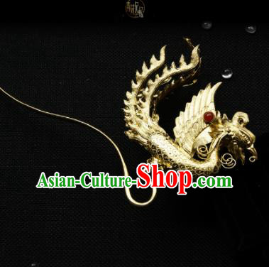 Chinese Ancient Ming Dynasty Queen Phoenix Hairpins Golden Hair Clip Traditional Hanfu Hair Accessories for Women