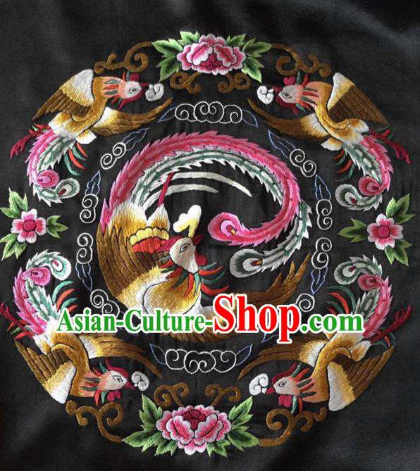 Chinese Handmade Embroidered Phoenix Peony Silk Fabric Patch Traditional Embroidery Craft