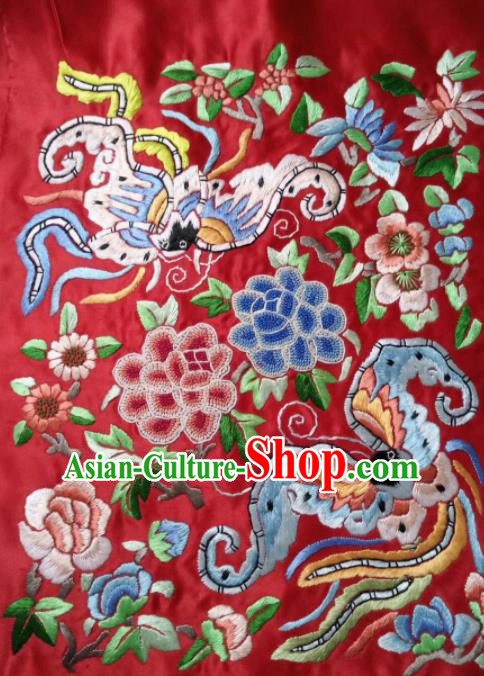 Chinese Handmade Embroidered Phoenix Peony Red Silk Fabric Patch Traditional Embroidery Craft