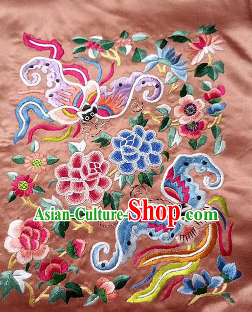 Chinese Handmade Embroidered Phoenix Peony Pink Silk Fabric Patch Traditional Embroidery Craft