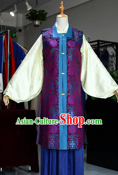 Chinese Ancient Drama Costumes Traditional Ming Dynasty Young Mistress Purple Dress for Women