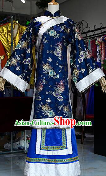 Chinese Ancient Drama Court Lady Navy Costumes Traditional Qing Dynasty Young Mistress Dress for Women