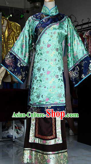 Chinese Ancient Drama Countess Green Costumes Traditional Qing Dynasty Young Mistress Dress for Women